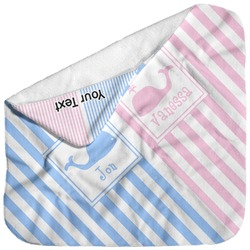 Striped w/ Whales Baby Hooded Towel (Personalized)