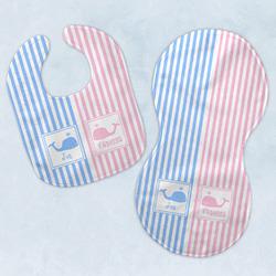 Striped w/ Whales Baby Bib & Burp Set w/ Multiple Names