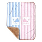 """Striped w/ Whales Sherpa Baby Blanket 30"""" x 40"""" (Personalized)"""