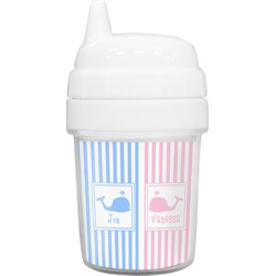 Striped w/ Whales Baby Sippy Cup (Personalized)