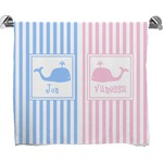 Striped w/ Whales Full Print Bath Towel (Personalized)