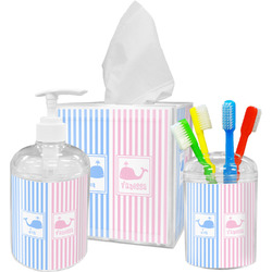Striped w/ Whales Bathroom Accessories Set (Personalized)