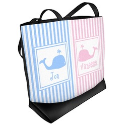 Striped w/ Whales Beach Tote Bag (Personalized)