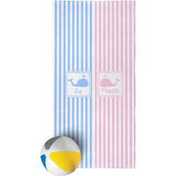 Striped w/ Whales Beach Towel (Personalized)