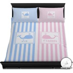 Striped w/ Whales Duvet Cover Set (Personalized)