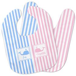 Striped w/ Whales Baby Bib w/ Multiple Names
