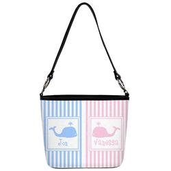 Striped w/ Whales Bucket Bag w/ Genuine Leather Trim (Personalized)