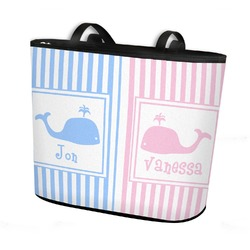 Striped w/ Whales Bucket Tote w/ Genuine Leather Trim (Personalized)