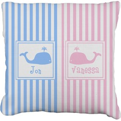 """Striped w/ Whales Faux-Linen Throw Pillow 16"""" (Personalized)"""
