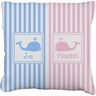 Striped w/ Whales Burlap Pillow Case (Personalized)