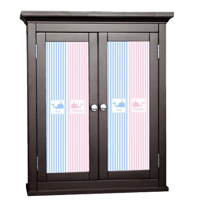 Striped w/ Whales Cabinet Decal - Custom Size (Personalized)