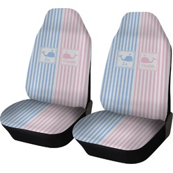 Striped w/ Whales Car Seat Covers (Set of Two) (Personalized)
