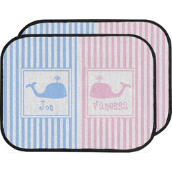 Striped w/ Whales Car Floor Mats (Back Seat) (Personalized)