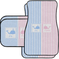 Striped w/ Whales Car Floor Mats Set - 2 Front & 2 Back (Personalized)