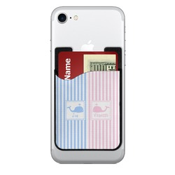 Striped w/ Whales Cell Phone Credit Card Holder (Personalized)