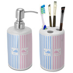 Striped w/ Whales Bathroom Accessories Set (Ceramic) (Personalized)