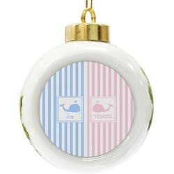 Striped w/ Whales Ceramic Ball Ornament (Personalized)