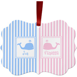 Striped w/ Whales Ornament (Personalized)