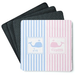 Striped w/ Whales 4 Square Coasters - Rubber Backed (Personalized)
