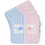 Striped w/ Whales Cork Coaster - Set of 4 w/ Multiple Names