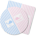 Striped w/ Whales Rubber Backed Coaster (Personalized)