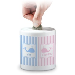 Striped w/ Whales Coin Bank (Personalized)