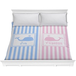 Striped w/ Whales Comforter - King (Personalized)