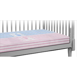 Striped w/ Whales Crib Fitted Sheet (Personalized)