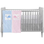 Striped w/ Whales Crib Comforter / Quilt (Personalized)