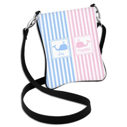 Striped w/ Whales Cross Body Bag - 2 Sizes (Personalized)