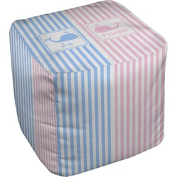 Striped w/ Whales Cube Pouf Ottoman (Personalized)