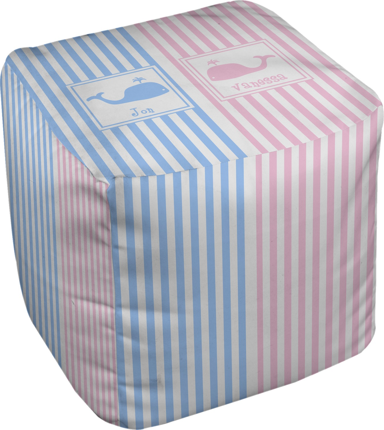 striped w whales cube pouf ottoman 18 personalized. Black Bedroom Furniture Sets. Home Design Ideas
