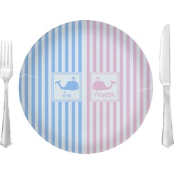 "Striped w/ Whales 10"" Glass Lunch / Dinner Plates - Single or Set (Personalized)"