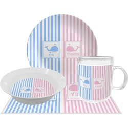 Striped w/ Whales Dinner Set - 4 Pc (Personalized)