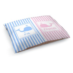 Striped w/ Whales Dog Pillow Bed (Personalized)