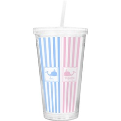 Striped w/ Whales Double Wall Tumbler with Straw (Personalized)