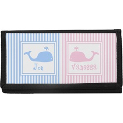 Striped w/ Whales Canvas Checkbook Cover (Personalized)