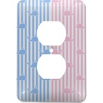 Striped w/ Whales Electric Outlet Plate (Personalized)
