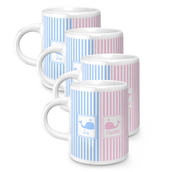 Striped w/ Whales Espresso Mugs - Set of 4 (Personalized)