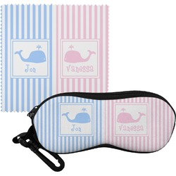 Striped w/ Whales Eyeglass Case & Cloth (Personalized)