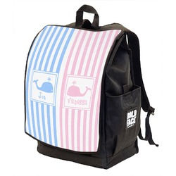 Striped w/ Whales Backpack w/ Front Flap  (Personalized)