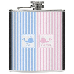 Striped w/ Whales Genuine Leather Flask (Personalized)