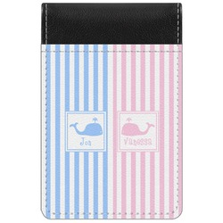 Striped w/ Whales Genuine Leather Small Memo Pad (Personalized)