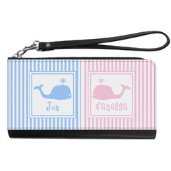 Striped w/ Whales Genuine Leather Smartphone Wrist Wallet (Personalized)