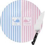 Striped w/ Whales Round Glass Cutting Board (Personalized)