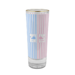 Striped w/ Whales 2 oz Shot Glass - Glass with Gold Rim (Personalized)