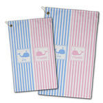Striped w/ Whales Golf Towel - Full Print w/ Multiple Names
