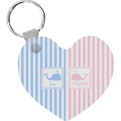 Striped w/ Whales Heart Keychain (Personalized)