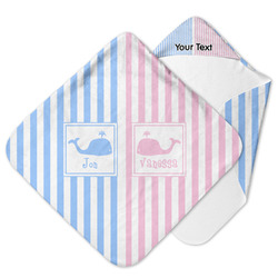 Striped w/ Whales Hooded Baby Towel (Personalized)