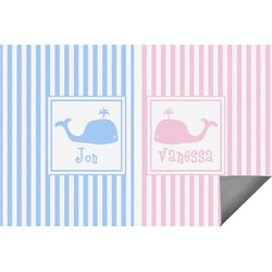 Striped w/ Whales Indoor / Outdoor Rug (Personalized)